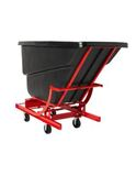 SELF DUMPING HOPPER WITH 6 IN POLYOLEFIN CASTERS, 1 CUBIC YARD, BLACK