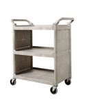 Service Cart with Swivel Casters and End Panels, Platinum