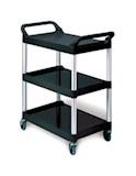 Utility Cart 3 Shelf w/ 4in. dia Swivel Casters - Black