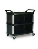 Utility Cart with Enclosed End Panels on 3 Sides, Black