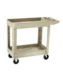 Heavy-Duty Flat Handle Utility Cart, Lipped-Shelf, Small, Beige
